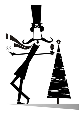 Funny mustache man in the top hat with glass of wine