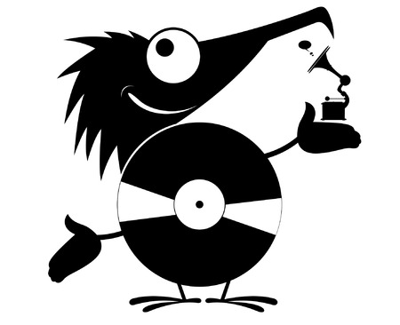 Comic person is listening music on vinyl