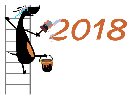 Cartoon dog refreshes New Year inscription