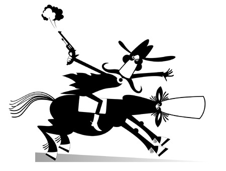 Man or cowboy rides on horse illustration isolated.  Cartoon man rides on horse and shoots from the gun black on white illustration