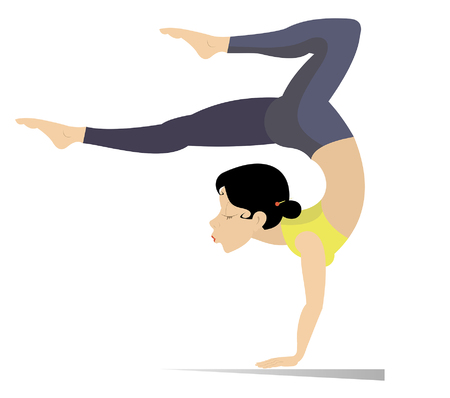 Young woman with lithe figure doing sport or yoga exercises isolated on white. Young woman with lithe figure standing on the hands with legs up and doing sport exercises