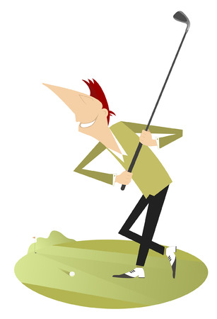 Smiling golfer illustration isolated. Smiling golfer aiming to do a good kick Illustration
