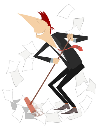 Cartoon smiling man tidying up illustration isolated. Cartoon smiling businessman sweeps papers from the office by broom