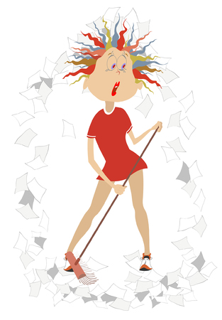Cartoon tired woman tidying up illustration isolated. Cartoon tired woman sweeps papers using a broom Ilustracja