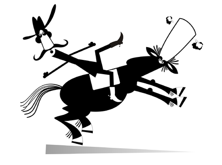 Man or cowboy falls down from the horse illustration isolated