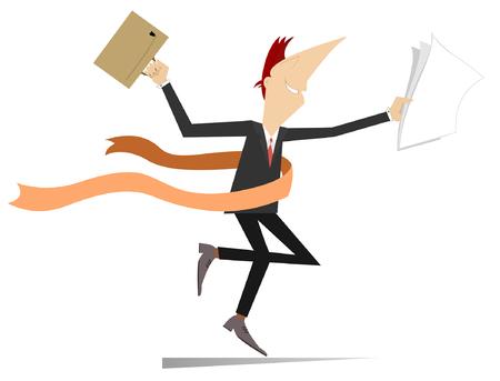 Os homens de negócios running ganham no negócio isolado na ilustração branca. Sorrir jovem com saco e papéis termina com uma fita de vencedor