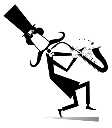 Cartoon long mustache saxophonist illustration isolated. Smiling mustache man in the top hat is playing music on saxophone with inspiration