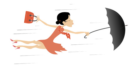 Windy day and young woman with umbrella isolated. Young woman tries to hold an umbrella and a fancy bag gone with the strong wind cartoon illustration. Vectores