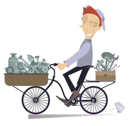 Cartoon mechanic with replacement components and tools rides on the bike isolated Illustration. Cartoon cheerful mechanic with replacement components and tools is going to work on the bike isolated on white illustration Illustration