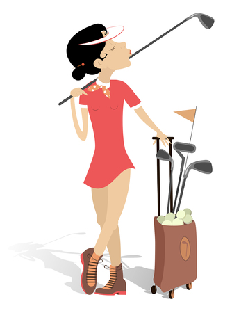 Young woman plays golf isolated illustration.  Pretty young woman with a golf club on the shoulder and bag full of golf clubs and balls isolated on white illustration Illustration