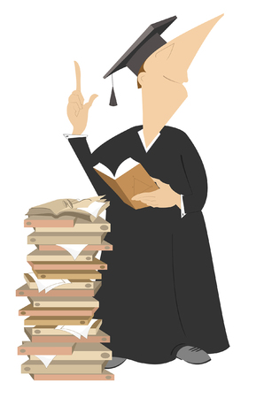 Smiling professor in a wig with pile of books illustration. Teacher in a wig with pile of books asks to put attention to his speech isolated on white illustration