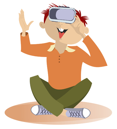 Yong man wearing virtual reality goggles isolated illustration. Smiling young man wearing virtual reality goggles isolated on white illustration