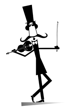 Cartoon long mustache violinist illustration isolated. Smiling mustache man in the top hat is playing music on the violin with inspiration