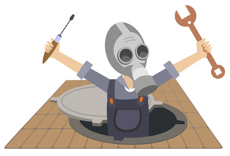 Worker in the gas mask working in the sewer manhole illustration isolated. Worker in the gas mask with a spanner and screwdriver in the hands appears out from the sewer manhole