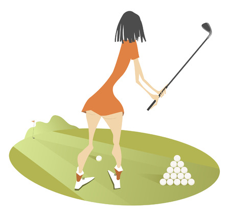 Young woman golfer on the golf course illustration isolated. Standing back young woman golfer aiming to do a good kick illustration Illustration