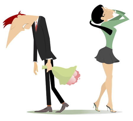 Quarrel between man and woman isolated on white illustration. Upset men with bouquet of flowers and hanging head is rejected by his frustration or crying woman who puts hands on the face Illustration