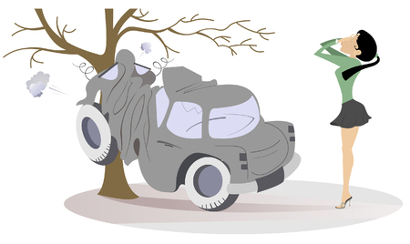 Young woman have got into a road accident illustration. Frustration and crying woman putting hands on the face stands near the car which crashed into the tree isolated on white illustration