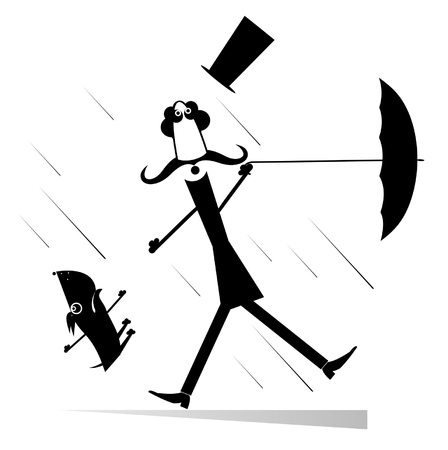 Abstract illustration of man holding opened umbrella on windy a weather.