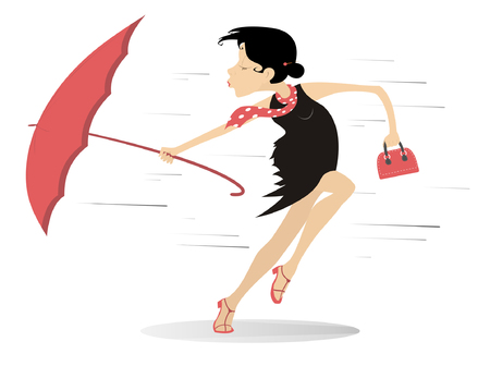 Woman holding umbrella on windy illustration. Ilustrace