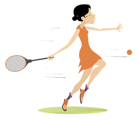 Young woman playing tennis isolated illustration. Woman with a tennis racket beats a ball isolated on white Illustration