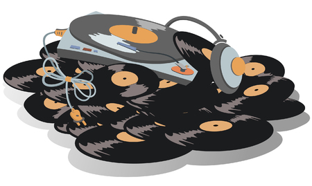 Record player, headphones are on the big pile of vinyl records illustration