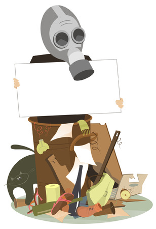 Environmental protection concept illustration. Trash dump and man in the gas mask with a banner trying to protect the environment from waste products illustration