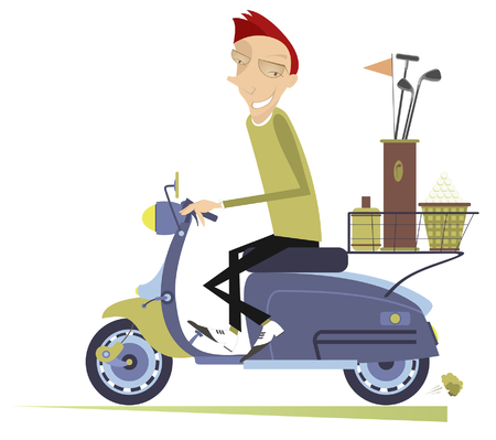 Smiling man rides the scooter and goes to play golf isolated illustration. Smiling man on the scooter is on the way to the golf course isolated on white illustration.