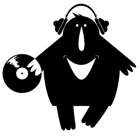 Comic DJ is listening music on vinyl illustration. Smiling man in headphones holds long-playing record black on white illustration