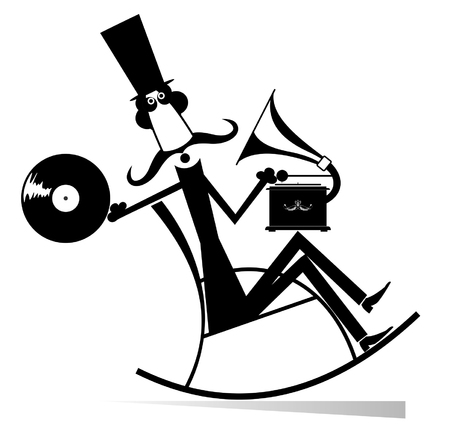 Mustache man in the top hat sits in the rocking chair listens music on vintage record player black on white illustration