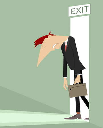 Sad man with his head and hands down goes out from the open door illustration Illustration