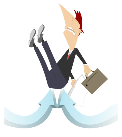 Businessman, arrow sins concept illustration. Businessman with bag and papers is picked up by arrow signs concept illustration