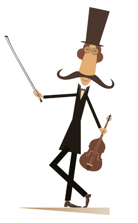Cartoon long mustache violinist illustration isolated. Smiling mustache man in the top hat with violin and fiddlestick illustration