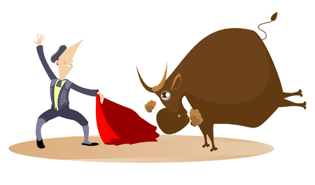 Brave cartoon bullfighter with a cloak of the matador and angry bull illustration. Cartoon bullfighter and the bull illustration
