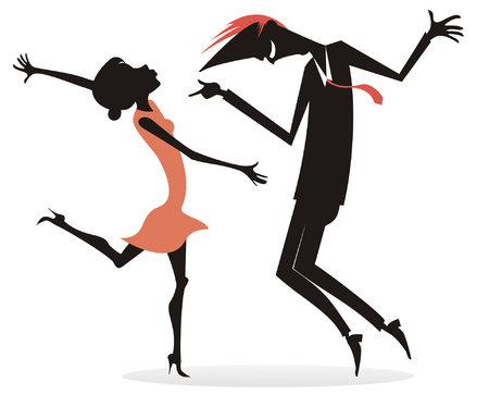 Dancing young couple silhouette illustration isolated. Romantic dancing young man and woman silhouettes isolated on white illustration