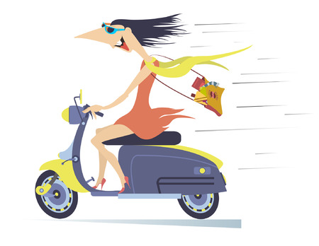 Comic young woman rides on the scooter. Funny young woman in the sunglasses with long disheveled on the wind hair speeds on the scooter isolated on white illustration