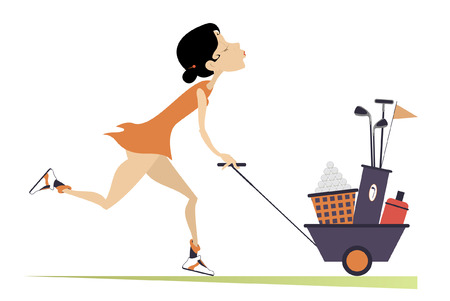 Young pretty woman is going to play golf isolated illustration. Smiling woman pushes a trolley with bag of golf clubs, balls and water in and goes to play golf isolated on white illustration Ilustração