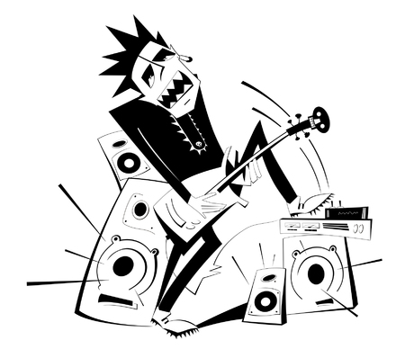 Cartoon guitar player black on white isolated illustration. Expressive guitarist plays loud music using amplifier and several speakers puts his foot one of them Illustration
