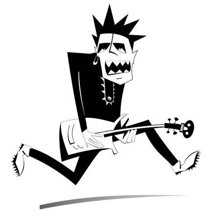 Jumping guitar player isolated illustration. Expressive guitarist is playing music and singing with the great inspiration black on white illustration
