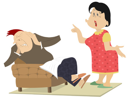 Quarrel between man and woman isolated illustration. Woman scolds the man who seats in the armchair and closes his ears by hands isolated on white