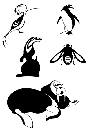 Animal icons isolated illustration. Decor animal silhouettes collection for design isolated on white Illustration