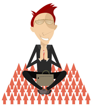 Business concept illustration. Businessman with eyes closed prays or meditates sitting as yoga on the sharp arrows concept illustration