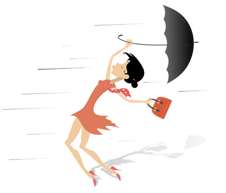 Windy day and woman with a handbag and umbrella isolated. Strong wind and a young woman trying to keep an umbrella and handbag isolated on white illustration