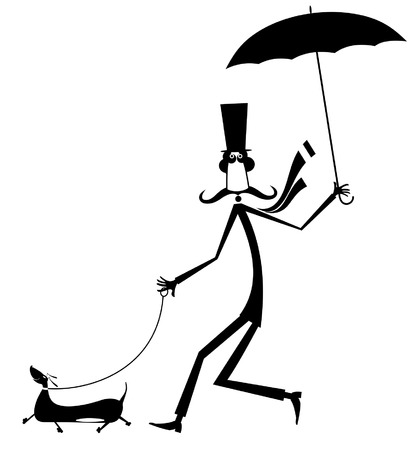 Mustache man walking with umbrella and dog isolated illustration. Mustache man in the top hat walking with a dog and umbrella black on white illustration