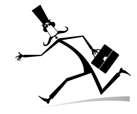 Hurry and busy man isolated illustration. Hurry and busy long mustache man in the top hat with a bag black on white illustration Illustration