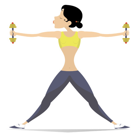 Well-developed figure young woman does exercises with dumbbells isolated on white illustration. Pretty young woman does exercises with dumbbells isolated