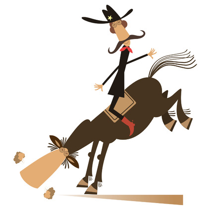 Man or cowboy rides on horse isolated illustration. Cartoon mustache cowboy on rodeo isolated on white illustration