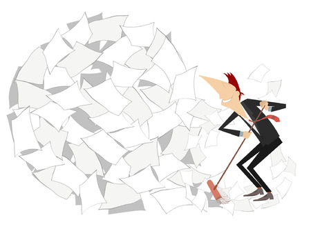 Cartoon smiling man tidying up illustration isolated. Cartoon smiling businessman sweeps a big ball of papers from the office by broom Illustration