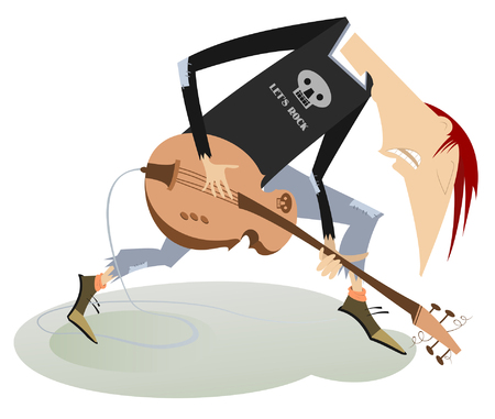 Cartoon guitar player illustration isolated. Smiling guitarist is playing music on electric guitar with the great inspiration isolated on white illustration