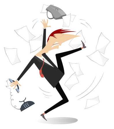 Angry businessman isolated illustration. Angry and upset man throws about papers, bag and telephone isolated on white illustration 矢量图像