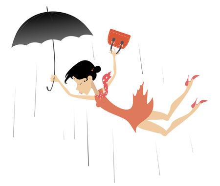 Sterke wind en vrouw geïsoleerde illustratie. Vrouw in beslag genomen door de wind probeert een paraplu en handtas geïsoleerd te houden op een witte afbeelding